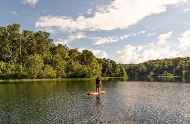 Person paddle boarding on lake